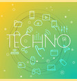 techno concept different thin line icons included vector image vector image