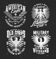 tshirt prints with eagle mascot for military club vector image