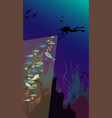 underwater hunting - spearfisher dives under the vector image