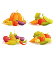 Vegetables Compositions 4 Icons Square Set vector image vector image