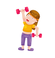 woman with dumbbells isolated on white background vector image
