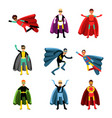 male superheroes in different costumes set of vector image