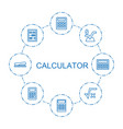 8 calculator icons vector image vector image