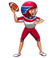 A drawing of an American football player vector image vector image