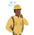 african-american traveler with question marks vector image vector image