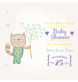 Baby Cat Holding Flower - Baby Shower Card vector image vector image
