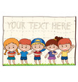 background template with happy children vector image vector image