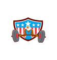 Bald Eagle Weightlifter Barbell USA Flag vector image vector image