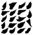 big set silhouettes wings on white vector image vector image