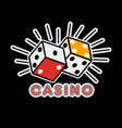 casino poker logo template gambling game dice vector image vector image