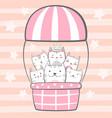 cat kitty characters air balloon vector image vector image