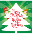 Children With Lettering On Xmas Tree vector image vector image