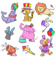 colorful element circus of doodle style vector image vector image