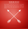 crossed arrows icon isolated on red background vector image