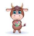 cute cartoon bull with beautiful blue eyes