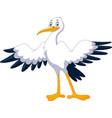 cute cartoon stork posing waving vector image vector image