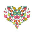 delicious tropical organ fruits of heart shape vector image vector image