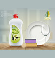 dishwashing soap with olive oil vector image vector image