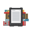 Electronic mobile book with paper books icon vector image vector image