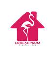 flamingo with leaf sign logo design vector image vector image