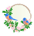 floral round frame with wild roses and cute vector image