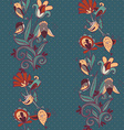 flowers and birds seamless texture pattern vector image