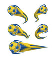 football yellow blue and soccer symbols set vector image vector image