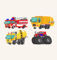 funny cute hand drawn cartoon vehicles bright vector image vector image