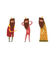 funny king character set old comic bearded king vector image