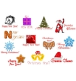 Headlines and icons for Christmas holiday vector image vector image