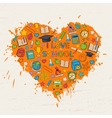 I love school heart vector image vector image
