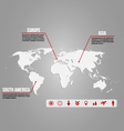 Infographic -world map with various icons vector image