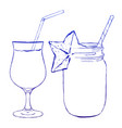 ink hand drawn line glasses for cocktail drinks vector image