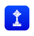 irish celtic cross icon digital blue vector image