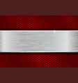 iron brushed metal texture on red perforated vector image vector image
