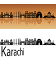 Karachi skyline in orange vector image