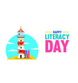 literacy day banner of book culture concept vector image