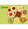 Lunch dishes icon with fruit dessert vector image vector image
