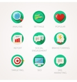 Marketing agency icons set Modern flat colored vector image