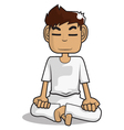 meditation cartoon character vector image vector image