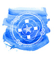 Nautical emblem with compass lifebuoy and starfish vector image vector image