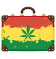 old suitcase with rasta flag pattern image vector image