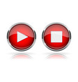 red round media buttons play and stop buttons vector image