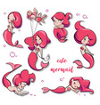 set of cute cartoon mermaids vector image