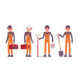 set of male worker in bright orange overall vector image