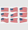 set usa wavy flags united states patriotic vector image