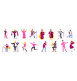 singer character flat icon set vector image vector image