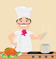 smiling chef cooks soup vector image vector image