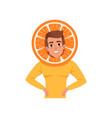 smiling man character in orange fruit headwear vector image vector image