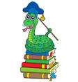 snake teacher on pile of books vector image